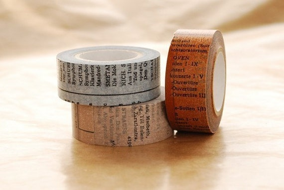 Japanese Washi Masking Tapes Set of 3 -  Old Book / 20mm
