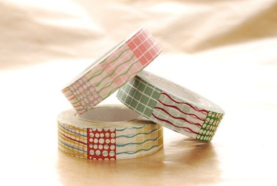 Japanese Washi Masking Tapes set of 3 / Lines, Dots and Grid 15mm
