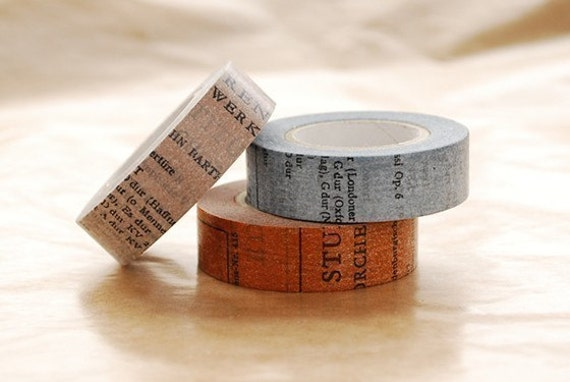 Japanese Washi Masking Tape -  15mm Old Book blue brown or gray at your choice for Packaging, Scrapbooking