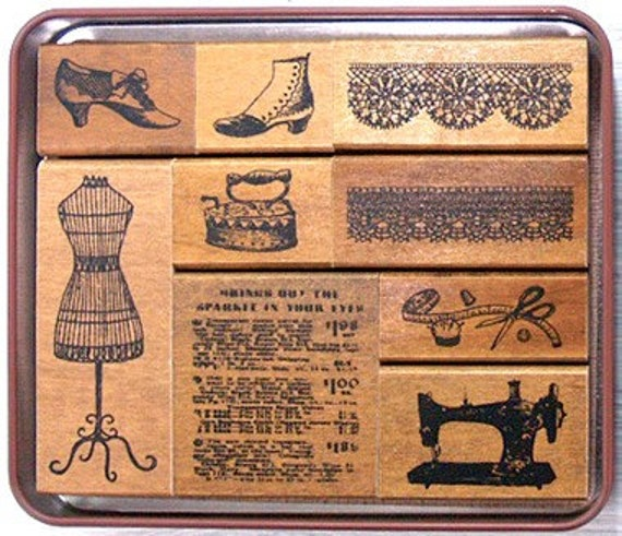 Pretty Japanese Margaret Stamp Set - Sewing (9 pieces)