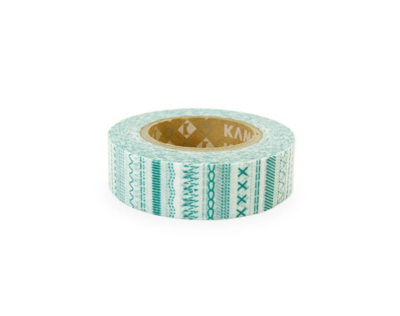 Discontinued-Japanese Washi Masking Tape / Teal Stitches for gift wrapping, party deco, invitaitons (15m Long, 50 percent more)
