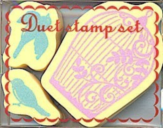 Kawaii Cute Birds and Birdcage Stamp Set of 3 for card making, scrapbooking, packaging