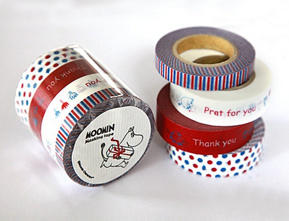 Discontinued-The Moomin Series Japanese Masking Tape Set of 4 (Presents) for gift wrapping, packaging, scrapbooking, decoration