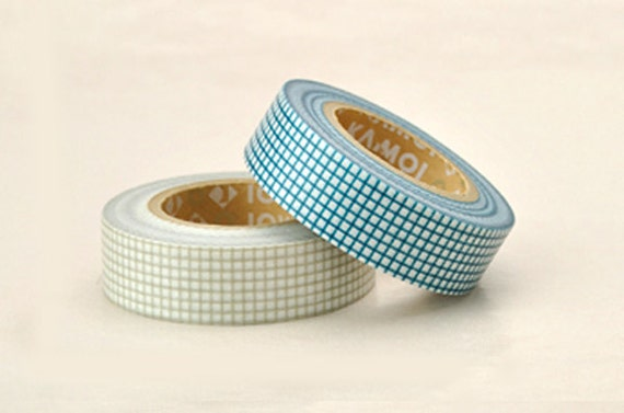 Discontinued-Japanese Washi Masking Tapes/ Blue and Gray Grids (15m Long, 50 percent more)