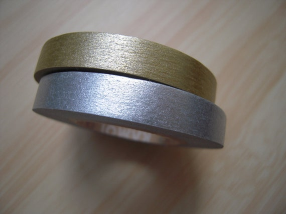 Japanese Washi Masking Tapes / Beautiful Slim Gold and Silver for Invitations, Announcements, Gift Wrapping (15m Long, 50 percent more)