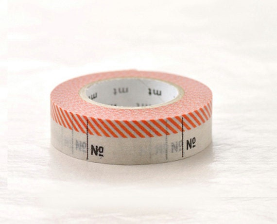 Discontinued-Japanese Washi Masking Tapes / Numbers Red (15m Long, 50 percent more) for labeling, scrapbooking, packaging
