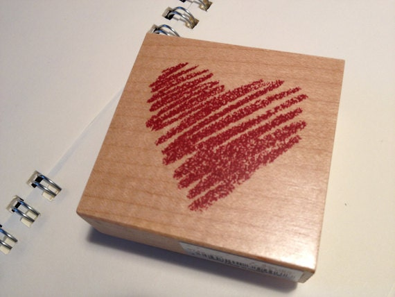 Pretty Japanese Wooden Rubber stamp - Cute Hand Drawn Heart Shape for wedding invitation, gift cards, tags, holiday packing