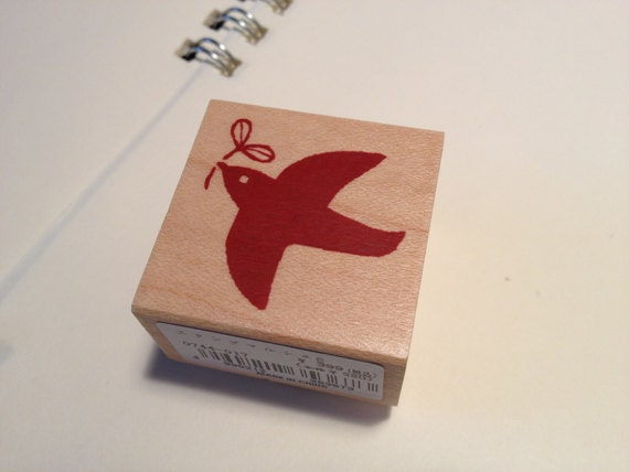 Japanese Wedding Gift Card : Japanese Wooden Rubber stampHappy Bird for wedding invitation, gift ...