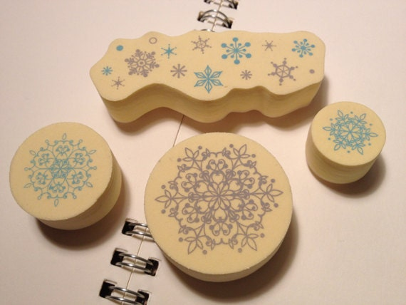 New - Cute Japanese Lace/Snowflakes Pattern Foam Rubber Stamp Set of 4 for everyday and holiday gift wrapping, scrapbooking, card making