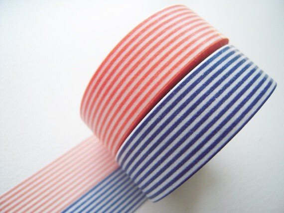 2 DOLLAR SALE - MT 2012 Japanese Washi Masking Tapes / Coral Pink and Navy Blue Stripes for packaging, party deco, card making