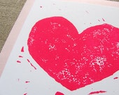 Block Printed Heart Cards / 4 pack