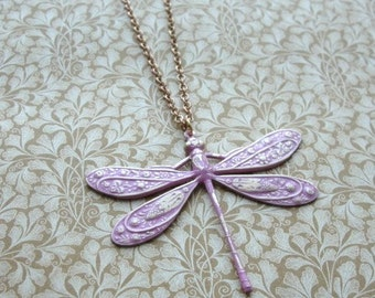Pink Dragonfly Long Chain Pendant