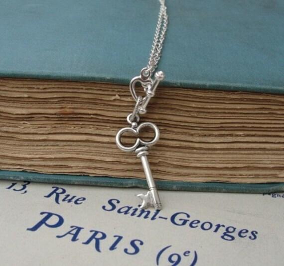 Silver Skeleton Key Necklace