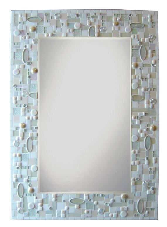 Items Similar To Large Mosaic Mirror White Monochromatic