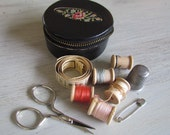 Vintage Sewing Kit in leather case with needlepoint detail