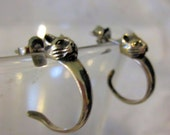 Vintage Cat Head and Tail Silver Hoop Earrings