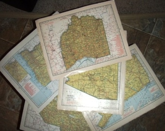 vintage paper ... large MAP PAGES full colour GROUP D 5 pages ...