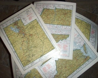vintage paper ... Large MAP PAGES full colour GROUP C 5 pages ...