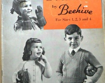 vintage knitting patterns ... HANDKNITS for CHILDREN BEEHIVE patterns ...