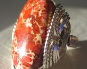 Sunrise Wire Wrap Jasper Ring Sea Sediment Stone Orange Dream - Can Make Any Size