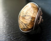 sale Wire Wrapped Paintbrush Jasper Ring - Oxidized Sterling Silver - Owyhee Picture Art Nature Scene - Any Size