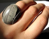 Agate Ring, Mens Ring, Natural Stone, Black & Gray, Oxidized Silver, Gift For Her