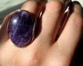Gold Amethyst Ring, Natural Purple Gemstone, Bold Statement Jewelry, 0988