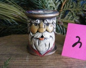 Hand Carved Santa on an Antique Thread Spool