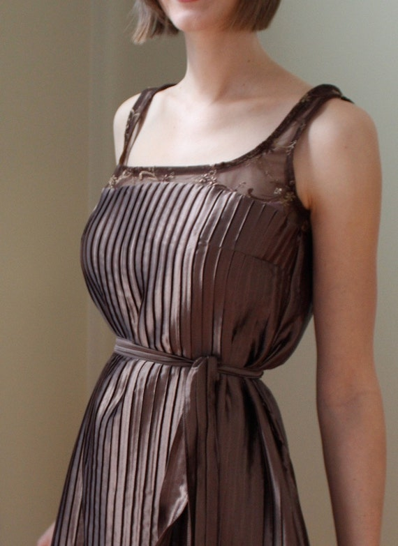 Coffee Brown Satin and Lace Party Dress- Available in other colors