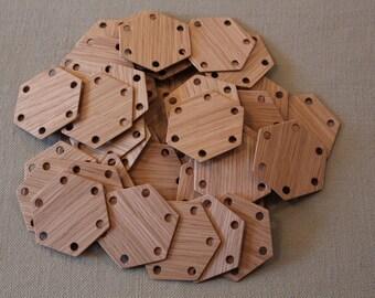 Tablet weaving cards 30 Hexagonal Oak 6-sided.  Ancient medieval viking art weaving loom craft work SCA