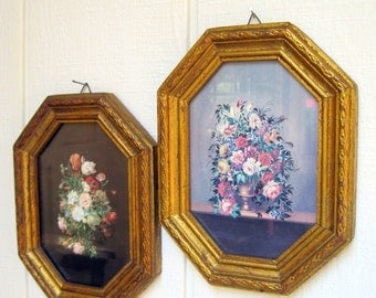 Pair of Italian Framed Floral Bouquet Prints