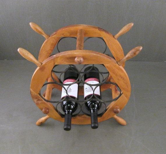Ships Wheel Wood and Iron Wine Rack