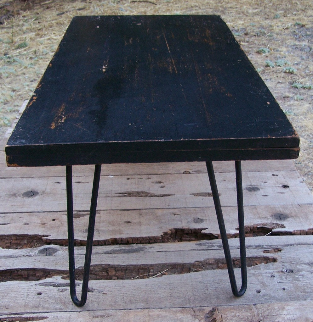 Distressed Wood And Metal Coffee Table