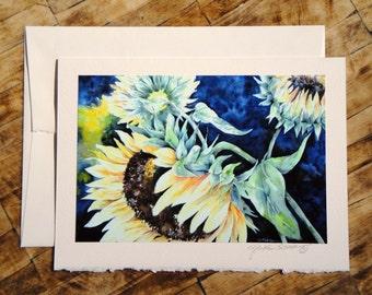 Sunflower Revelry - Fine Art Notecard