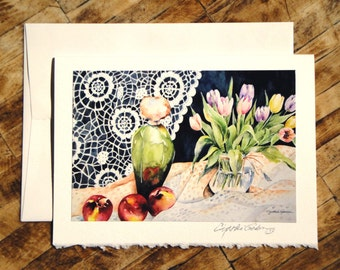 Fine Art Note Card featuring watercolor painting Three Nectarines