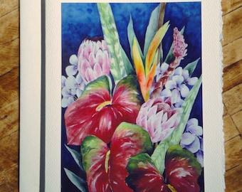 Tropical Flowers-2  Fine Art Notecards