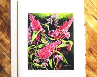 Fine Art Note Card featuring watercolor painting MORNING JOY