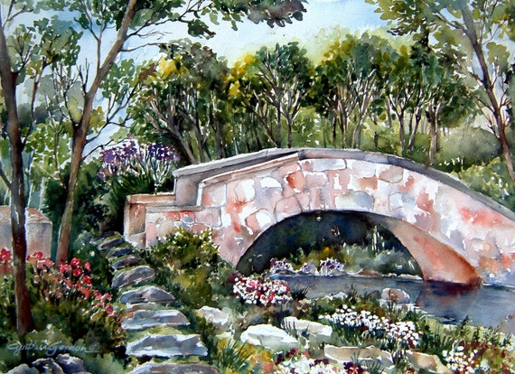 MARION'S BRIDGE  Fine Art Print from Original Watercolor Painting