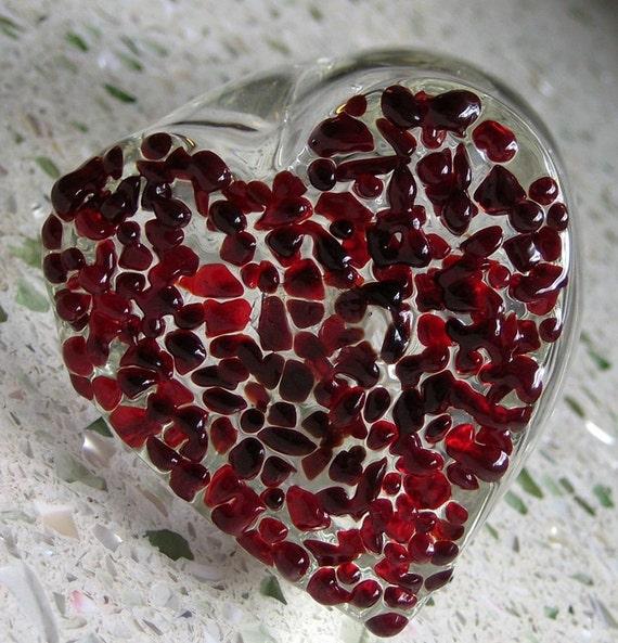 blown glass bud vase DARK RED heart valentine