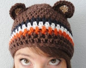 Go Bears Hat Hand-crocheted Chicago Bears Inspired Brown Beanie with Ears By Distinctly Daisy