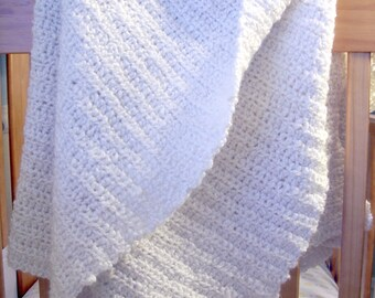 Hand Crocheted Baby Blanket -  Warm White Classic Christening Photo Prop Afghan - Custom Colors Available 36 x 42 By Distinctly Daisy