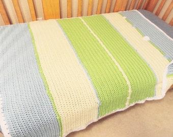 Summer Denim  Hand Crocheted Baby Toddler Blanket - Denim Blues - 32 x 44  Lightweight Afghan Couch Throw - Blue Green Yellow - Stripes
