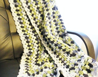 Granny Striped Crocheted Afghan Toddler Blanket Office Couch Lap Throw Blue Green By Distinctly Daisy