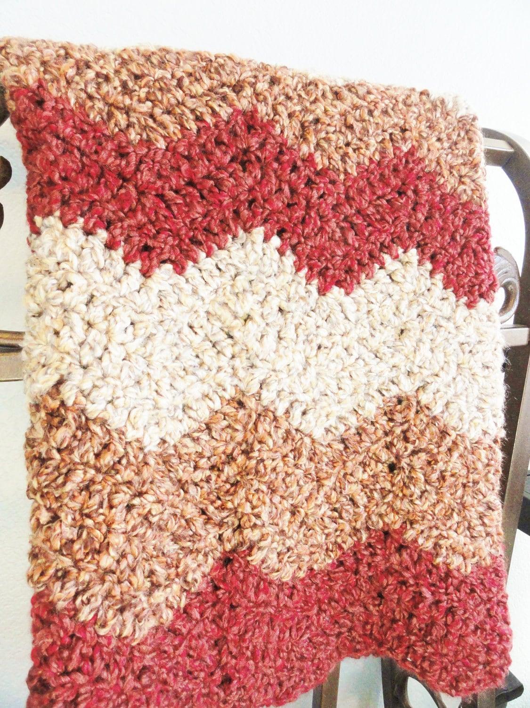 Garnet Chevron Striped Crocheted Afghan Blanket Couch Lap