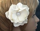 Gardenia Hair comb wedding headPiece Fascinator Ivory cream Swarovski rhinestones Hair Clip