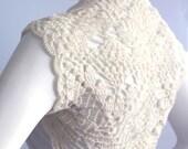 Gorgeous Bridal Silk / Cashmere Shrug handknit /crochet wedding bolero Ivory Cream Size M