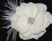 Bridal Hair flower - Ivory Gardenia clip wedding headPiece Fascinator - creme cream Rhinestone hair comb - Valentina