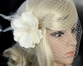Bridal Birdcage Veil Bandeau style Russian netting and Feather Silk Flower in ivory for Wedding Reception