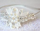 Lace Bridal Headband with Swarovski Crystal Rhinestone and pearls in ivory or white,  Bridal Wedding Reception