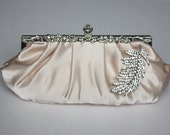 Bridal Clutch - champagne satin with Swarovski Crystal feather brooch